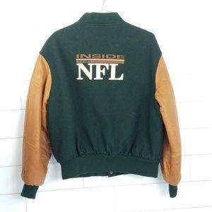 Mens XL Inside the NFL Varsity Jacket Green Brown